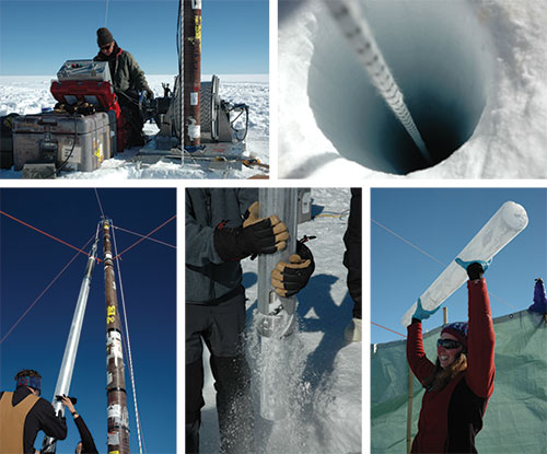 Photos Showing the drilling of an ice core