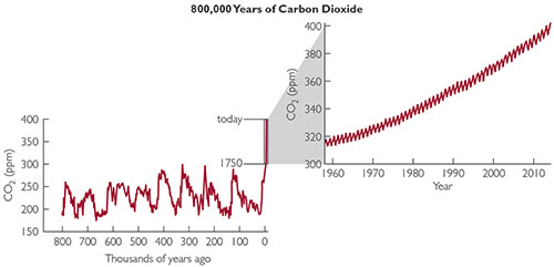 Graph showing how the atmospheric carbon dioxide concentration has changed over the past 800,000 years.